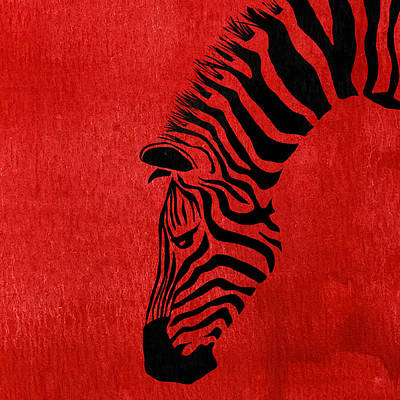Animal Digital Art - Zebra Animal Red Decorative Poster 7 - By  Diana Van by Diana Van