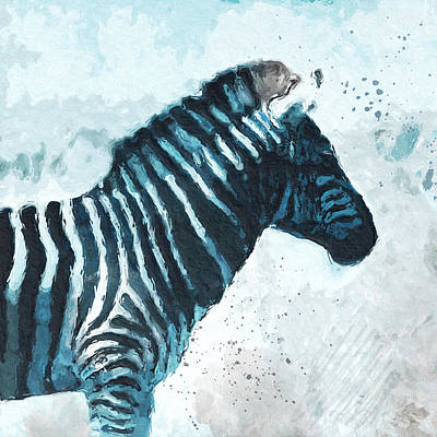 Zebra- Art By Linda Woods Art Print by Linda Woods