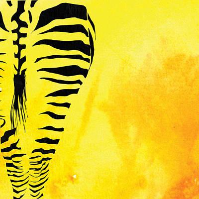 Zebra Animal Yellow Decorative Poster 1  - By Diana Van Art Print by Diana Van