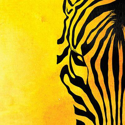 Zebra Animal Yellow Decorative Poster 3  - By  Diana Van Art Print by Diana Van