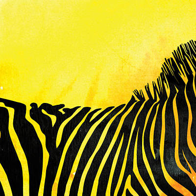 Zebra Painting - Zebra Animal Yellow Decorative Poster 4  - By  Diana Van by Diana Van