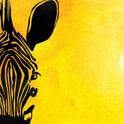 Pentaptych Painting - Zebra Animal Yellow Decorative Poster 7 - By  Diana Van by Diana Van