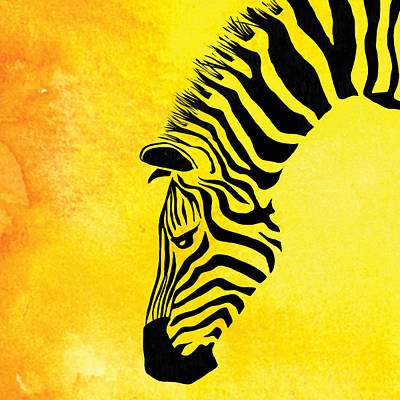Zebra Animal Yellow Decorative Poster 8 - By  Diana Van Art Print by Diana Van