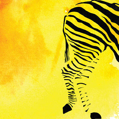 Zebra Animal Yellow Decorative Poster 9 - By  Diana Van Art Print by Diana Van