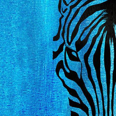 Zebra Animal Blue Decorative Poster 7  - By  Diana Van Art Print