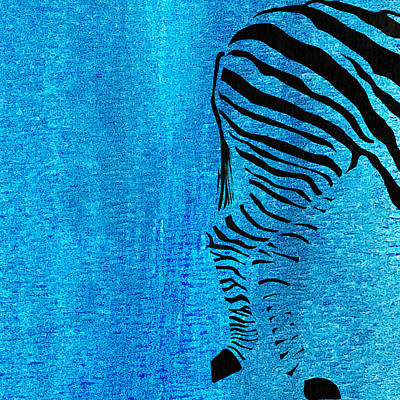 Pentaptych Painting - Zebra Animal Blue Decorative Poster 9 - By  Diana Van by Diana Van