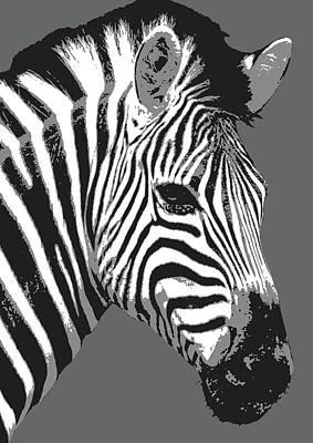 Digital Art - Zebra - Black by Gary Hogben