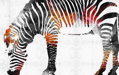Zebra Black White And Red Orange By Sharon Cummings  Art Print by Sharon Cummings