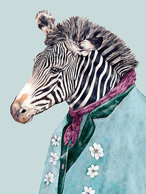 Animal Wall Art - Painting - Zebra Blue by Animal Crew