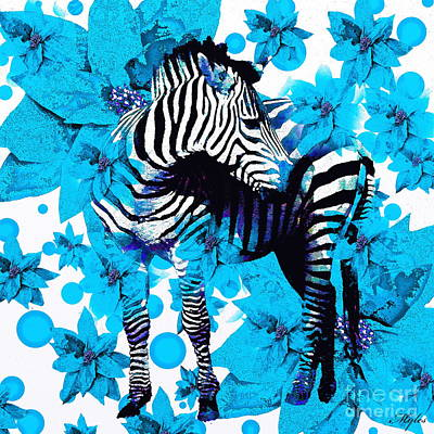 Painting - Zebra Blue Floral by Saundra Myles