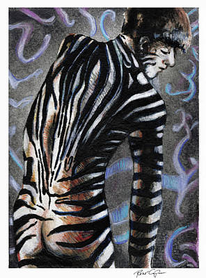 Zebra Drawing - Zebra Boy At Dawn by Rene Capone