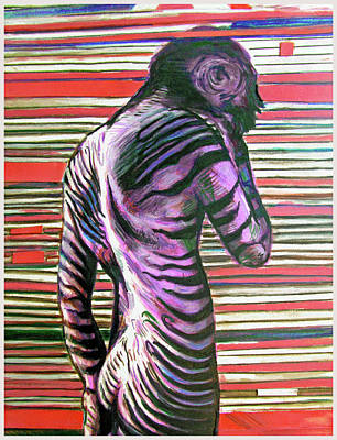 Painting - Zebra Boy Battle Wounds by Rene Capone