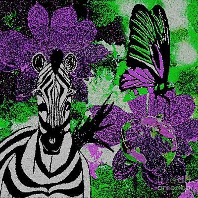 Painting - Zebra Butterfly Koi Mosaic by Saundra Myles