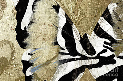 Abstract Butterfly Painting - Zebra Butterfly by Mindy Sommers