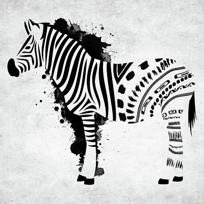 Digital Art - Zebra Bw With Splashes by Mihaela Pater