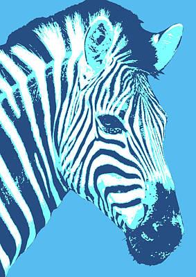 Digital Art - Zebra - Cyan by Gary Hogben