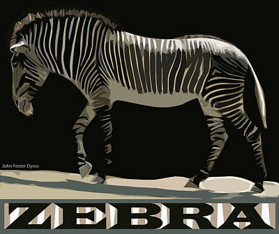 Digital Art - Zebra Design By John Foster Dyess by John Dyess