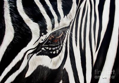 Wildlife Painting - Zebra Eye by Ilse Kleyn