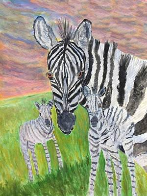 Painting - Zebra Family by Anne Sands