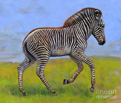 Gouache Painting - Zebra Foal  by Svetlana Ledneva-Schukina
