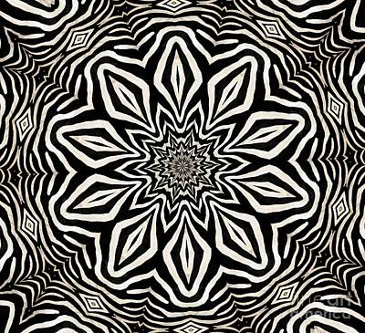 Photograph - Zebra Fur Macro Kaleidoscope Mandala Abstract 1 by Rose Santuci-Sofranko