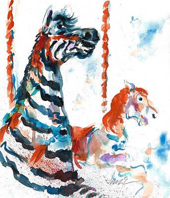 Painting - Zebra Gets A Ride The Ocean City Boardwalk Carousel by Jacki Kellum