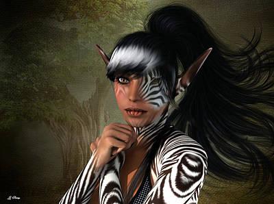 Centaur Mixed Media - Zebra Girl by G Berry