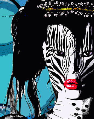 Digital Art - Zebra Girl Pop Art by Alicia Hollinger
