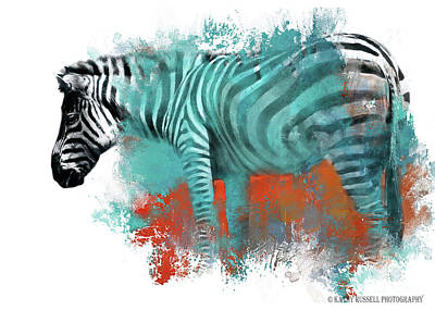 Digital Art - Zebra In Color by Kathy Russell