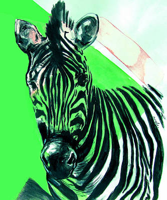 Zebra Patterns Painting - Zebra In Green by Rene Capone