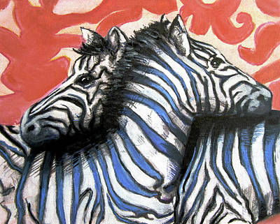 Zebra Patterns Painting - Zebra In Love by Rene Capone