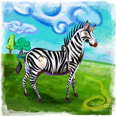 Zebra Patterns Painting - Zebra In The Park by Bedros Awak