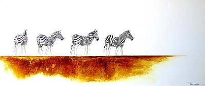 South Africa Zebra Painting - Zebra Landscape - Original Artwork by Tracey Armstrong