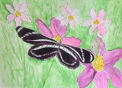 Painting - Zebra Longwing Butterfly by Anne Sands