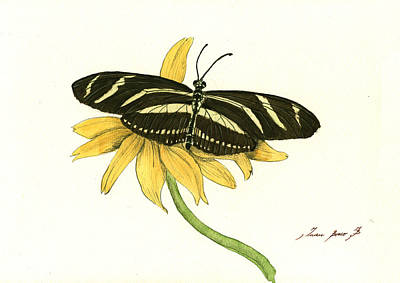 Zebra Art Painting - Zebra Longwing Butterfly by Juan Bosco