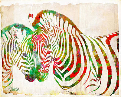 Digital Art - Zebra Lovin by Nikki Smith