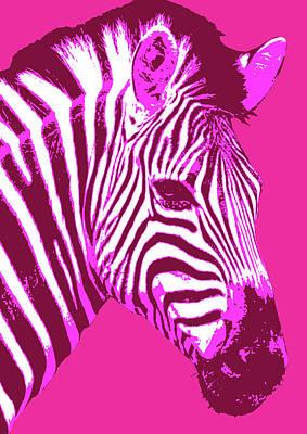 Digital Art - Zebra - Magenta by Gary Hogben