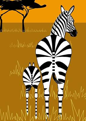 Digital Art - Zebra Mare With Baby by Marie Sansone