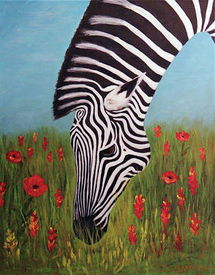Painting - Zebra Munching by Janet Greer Sammons