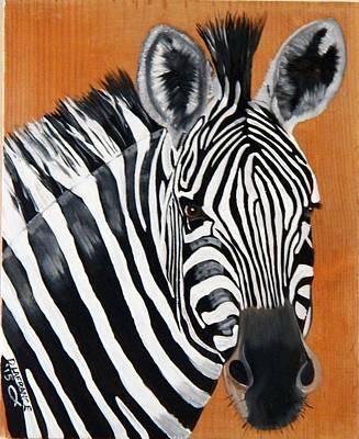 Pasta Al Dente - Zebra on wood by Debbie LaFrance