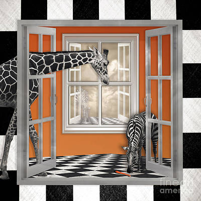 Digital Art - Zebra Or Giraffe Peek A Boo by Alissa Beth Photography
