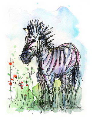 Zebra Painting - Zebra Painting Watercolor Sketch by Olga Shvartsur