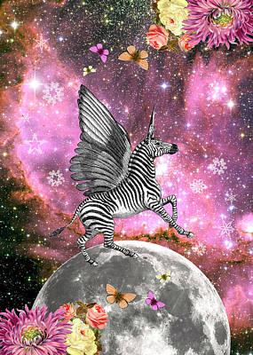 Zebra Pegacorn Unicorn Art Print by Gloria Sanchez