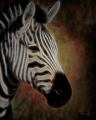Digital Art - Zebra Photoart 3a by Walter Herrit