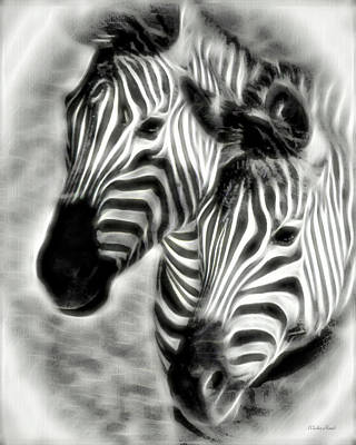 Painting - Zebra Digital Art Painting 4a by Walter Herrit