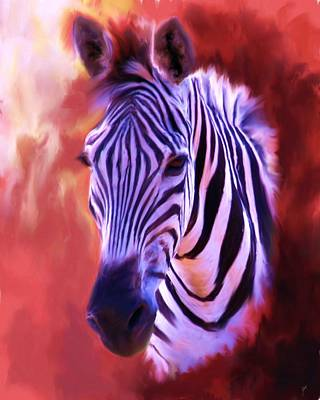 Painting - Zebra Portrait by Jai Johnson