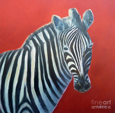 Painting - Zebra Red by Carolyn Jarvis