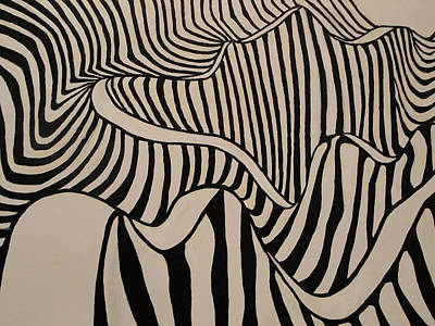 Abstact Landscapes Painting - Zebra Road by Stephen Ponting