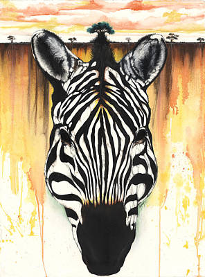 African-american Mixed Media - Zebra Rooted Ground by Anthony Burks Sr