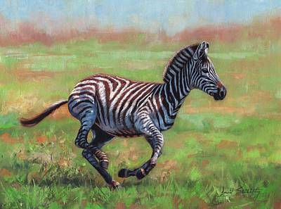 Painting - Zebra Running by David Stribbling